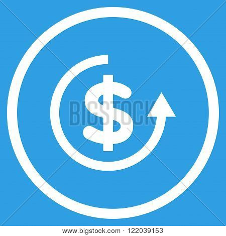 Refund vector icon. Style is flat rounded iconic symbol, refund icon is drawn with white color on a blue background.