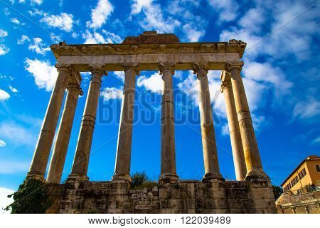 Ancient Corinthian columns at the Roman Forum in Rome, Italy.