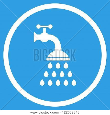 Shower Tap vector icon. Style is flat rounded iconic symbol, shower tap icon is drawn with white color on a blue background.
