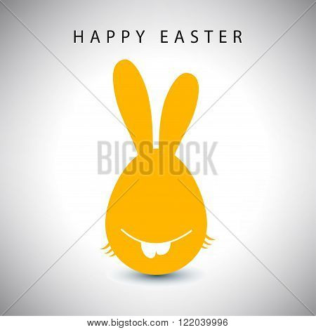 Vector illustration card of easter orange long-eared rabbit egg with teeth