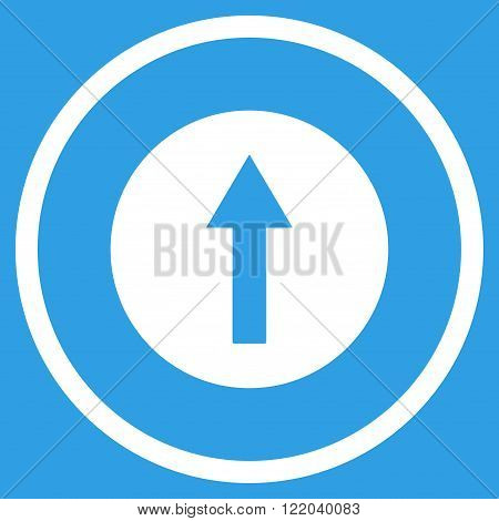 Up Rounded Arrow vector icon. Style is flat rounded iconic symbol, up rounded arrow icon is drawn with white color on a blue background.