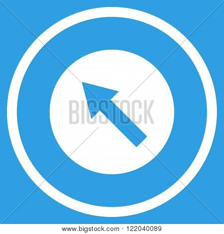 Up-Left Rounded Arrow vector icon. Style is flat rounded iconic symbol, up-left rounded arrow icon is drawn with white color on a blue background.