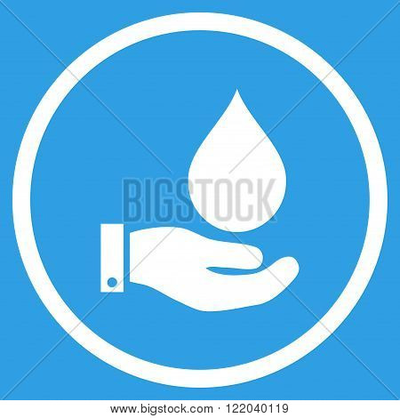Water Service vector icon. Style is flat rounded iconic symbol, water service icon is drawn with white color on a blue background.