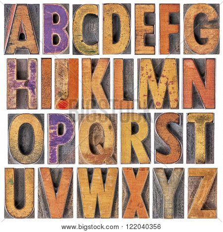English alphabet in wood type - 26 isolated letters in letterpress printing blocks with a lot of character due to scratches and ink stain