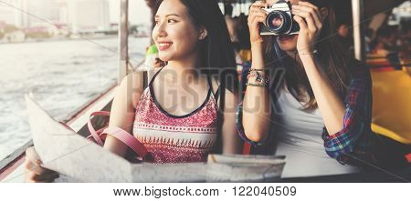 Girls Photography Traveling Trip Sightseeing Concept