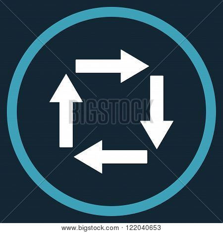 Circulation Arrows vector icon. Style is bicolor flat rounded iconic symbol, circulation arrows icon is drawn with blue and white colors on a dark blue background.