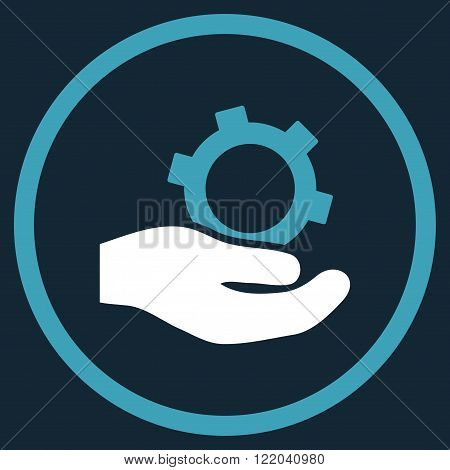 Engineering Service vector icon. Style is bicolor flat rounded iconic symbol, engineering service icon is drawn with blue and white colors on a dark blue background.