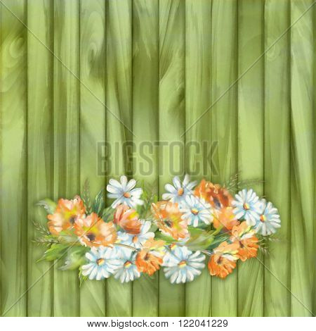Watercolor illustration of painted flowers on wooden background