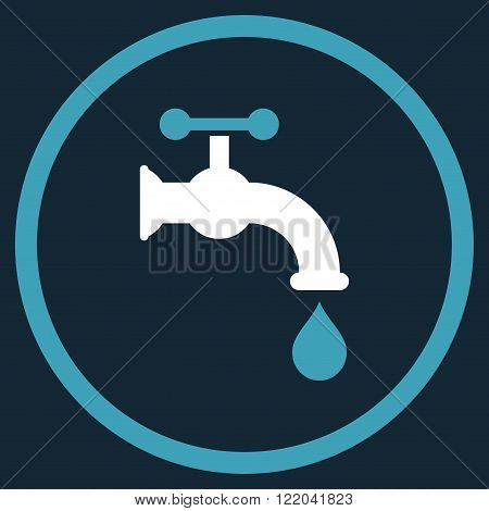Water Tap vector icon. Style is bicolor flat rounded iconic symbol, water tap icon is drawn with blue and white colors on a dark blue background.