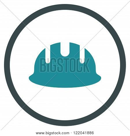 Builder Hardhat vector icon. Style is bicolor flat rounded iconic symbol, builder hardhat icon is drawn with soft blue colors on a white background.