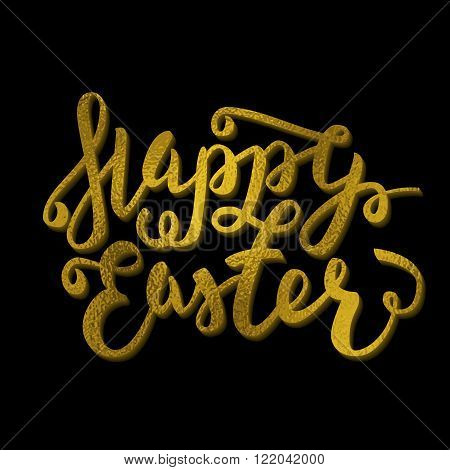 Happy Easter Greeting Card. Hand Drawn Lettering Calligraphic Design Label. Happy Easter Holidays Le