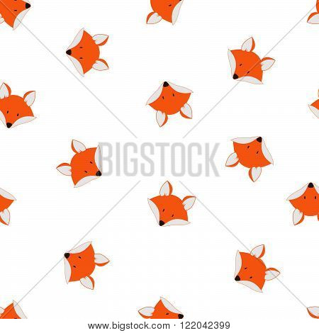 Cute foxes seamless vector pattern. Vector cute cartoon fox cub seamless pattern. Orange fox's head on white background. Good for print textile fabrics wallpaper decoration. Fox cub silhouette.