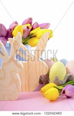 Happy Easter Wooden Bunnies