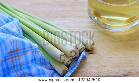 Thailand herbs of lemongrass on wood table
