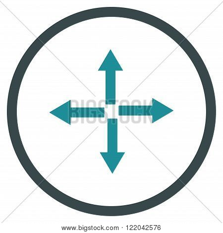 Expand Arrows vector icon. Style is bicolor flat rounded iconic symbol, expand arrows icon is drawn with soft blue colors on a white background.