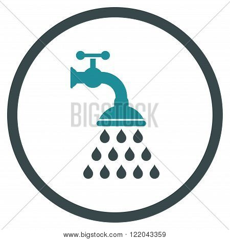 Shower Tap vector icon. Style is bicolor flat rounded iconic symbol, shower tap icon is drawn with soft blue colors on a white background.