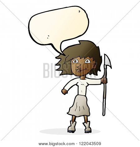 cartoon woman with spear with speech bubble