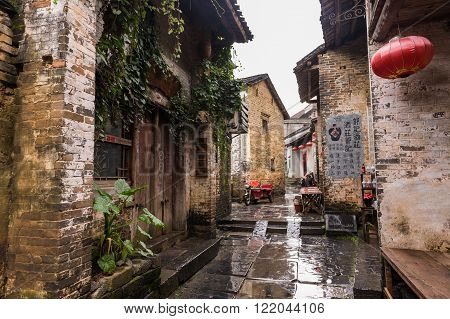 Guilin, China, 20 Jun 2014: Huang Yao ancient town with historical streets and alleys. One of China's most popular old towns.