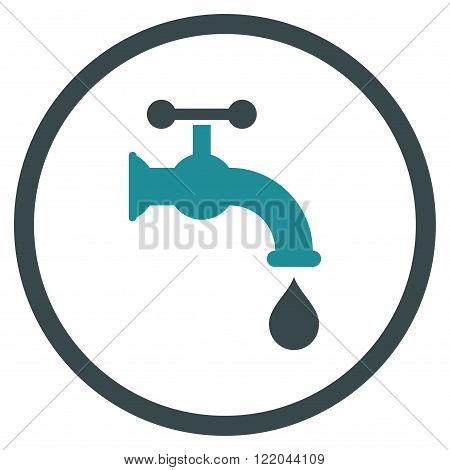 Water Tap vector icon. Style is bicolor flat rounded iconic symbol, water tap icon is drawn with soft blue colors on a white background.