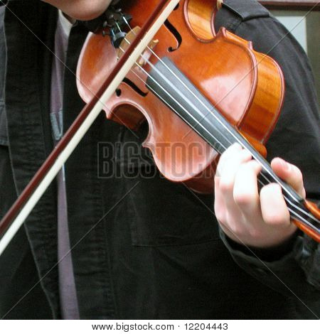 Busker playing violin