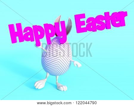 A cute Easter egg with bunny ears arms and feet holding a Happy Easter sign. Blue background.