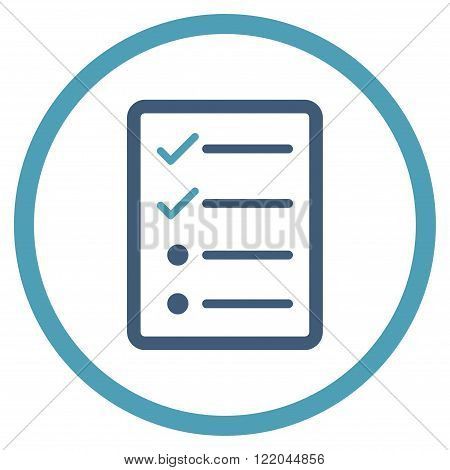 Checklist Page vector icon. Style is bicolor flat rounded iconic symbol, checklist page icon is drawn with cyan and blue colors on a white background.