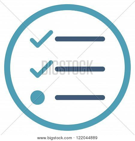 Checklist vector icon. Style is bicolor flat rounded iconic symbol, checklist icon is drawn with cyan and blue colors on a white background.