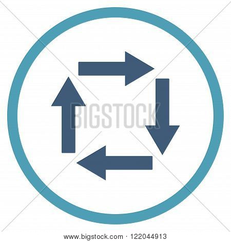 Circulation Arrows vector icon. Style is bicolor flat rounded iconic symbol, circulation arrows icon is drawn with cyan and blue colors on a white background.