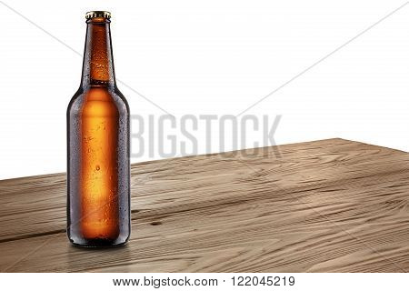 Beer Bottle On Wooden Table Mockup