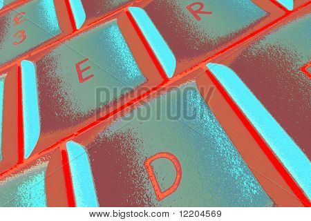 Distorted laptop keys in red and cyan colors