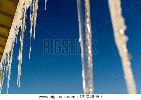 Winter Icicles And Blue Sky Background