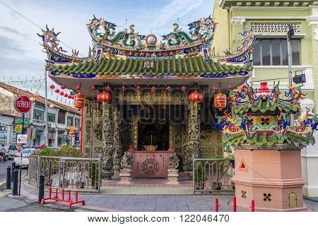 Penang, Malaysia, 09 Aug 2015: Yap Kongsi Temple at the corner of popular tourist destination Armenian Street.