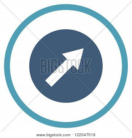 Up-Right Rounded Arrow vector icon. Style is bicolor flat rounded iconic symbol, up-right rounded arrow icon is drawn with cyan and blue colors on a white background.