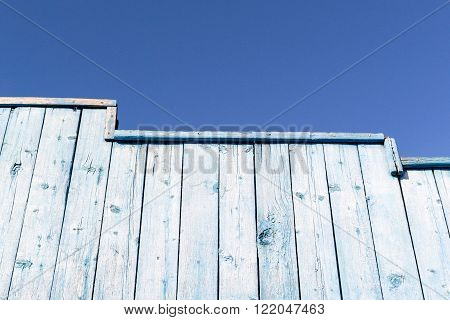 Faded Blue Wood Wall Fence