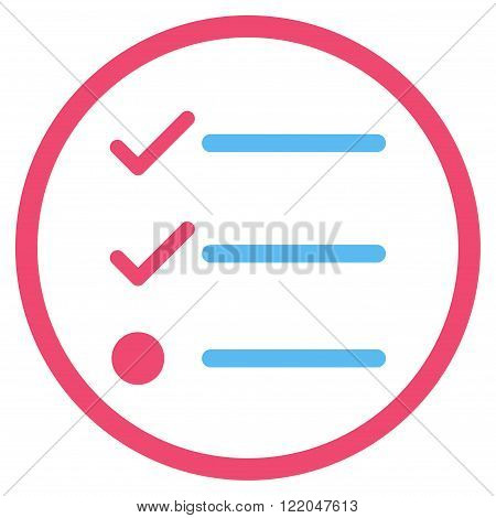 Checklist vector icon. Style is bicolor flat rounded iconic symbol, checklist icon is drawn with pink and blue colors on a white background.