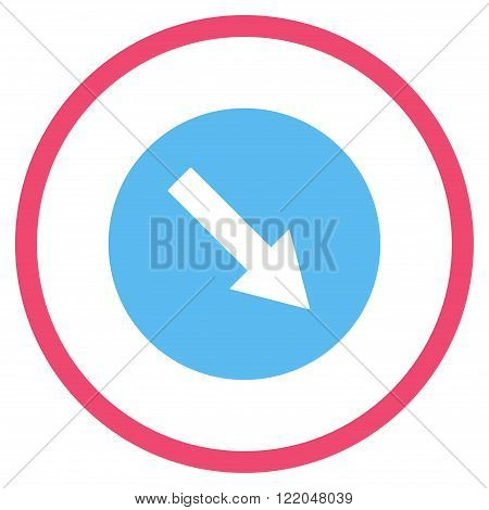 Down-Right Rounded Arrow vector icon. Style is bicolor flat rounded iconic symbol, down-right rounded arrow icon is drawn with pink and blue colors on a white background.