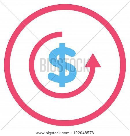 Refund vector icon. Style is bicolor flat rounded iconic symbol, refund icon is drawn with pink and blue colors on a white background.