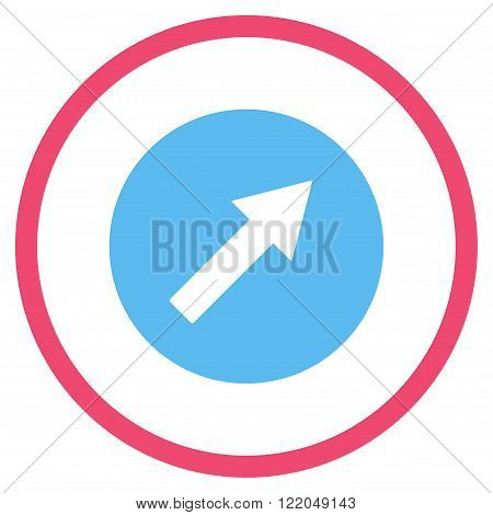 Up-Right Rounded Arrow vector icon. Style is bicolor flat rounded iconic symbol, up-right rounded arrow icon is drawn with pink and blue colors on a white background.