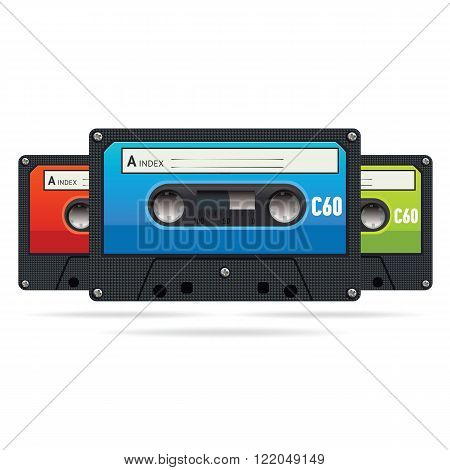 Three isolated colored vector vintage audiotapes. Audio cassette