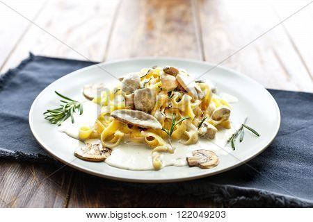 Tagliatelle Pasta with Mushrooms.