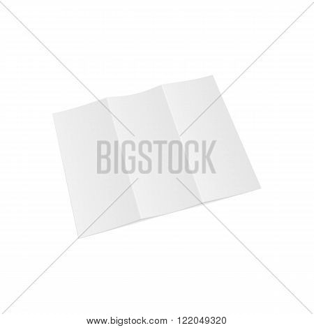 Trifold opened Paper Letter Template. Vector Illustration