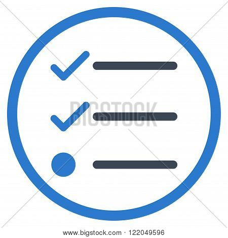Checklist vector icon. Style is bicolor flat rounded iconic symbol, checklist icon is drawn with smooth blue colors on a white background.
