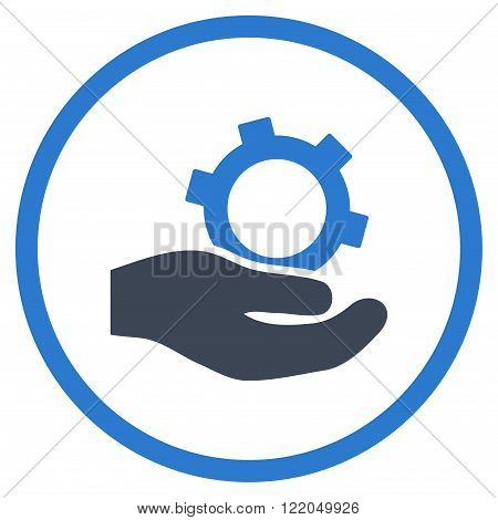 Engineering Service vector icon. Style is bicolor flat rounded iconic symbol, engineering service icon is drawn with smooth blue colors on a white background.