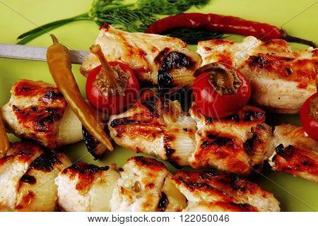 fresh roast chicken shish kebab on green platter