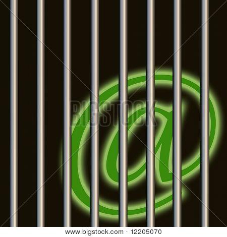Communication symbol behind bars. Concept: dangerous communication, crooks using internet.
