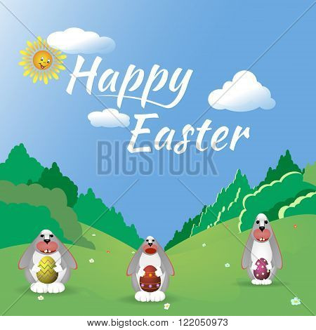 Three Easter bunny in the forest glade. happy easter card