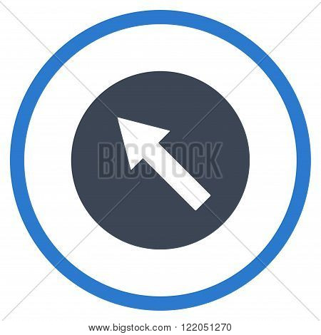 Up-Left Rounded Arrow vector icon. Style is bicolor flat rounded iconic symbol, up-left rounded arrow icon is drawn with smooth blue colors on a white background.