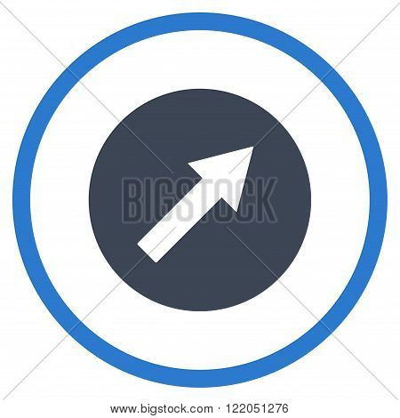 Up-Right Rounded Arrow vector icon. Style is bicolor flat rounded iconic symbol, up-right rounded arrow icon is drawn with smooth blue colors on a white background.