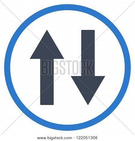 Vertical Flip Arrows vector icon. Style is bicolor flat rounded iconic symbol, vertical flip arrows icon is drawn with smooth blue colors on a white background.