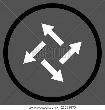 Centrifugal Arrows vector icon. Style is bicolor flat rounded iconic symbol, centrifugal arrows icon is drawn with black and white colors on a gray background.